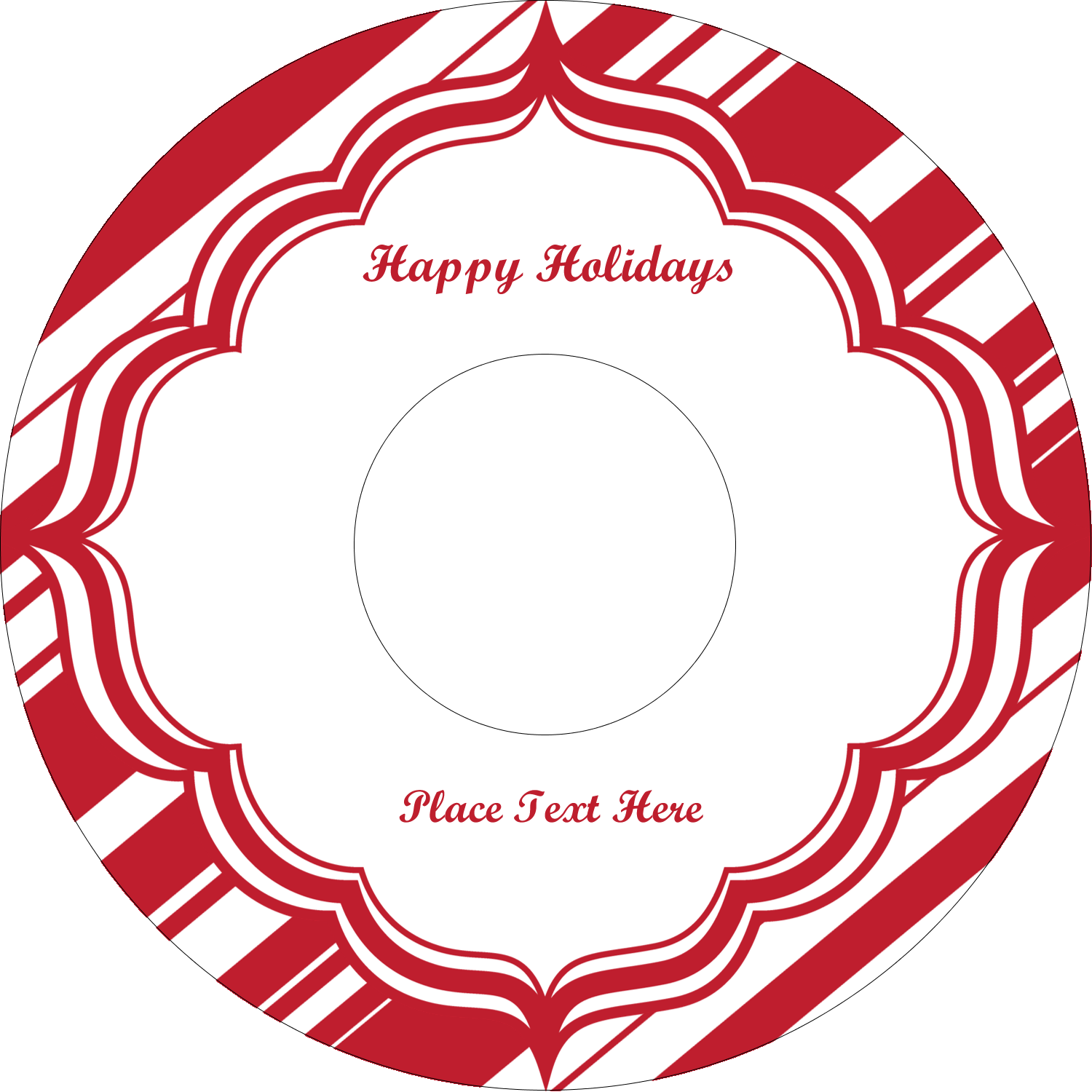 "4.65"" CD-DVD Label - Candy Cane Pattern"