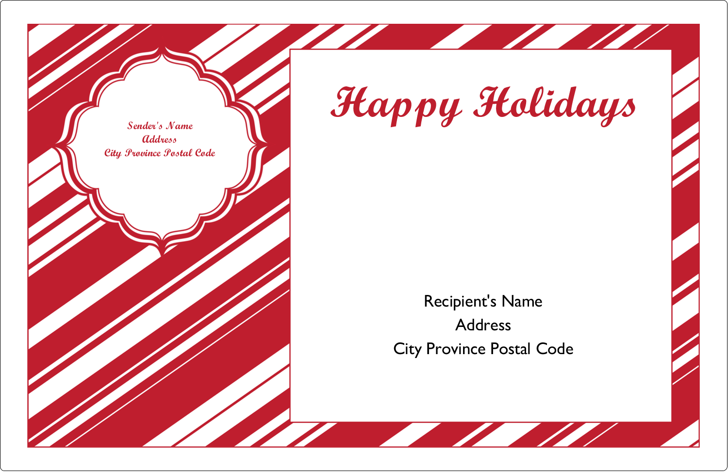 "5½"" x 8½"" Shipping Label - Candy Cane Pattern"