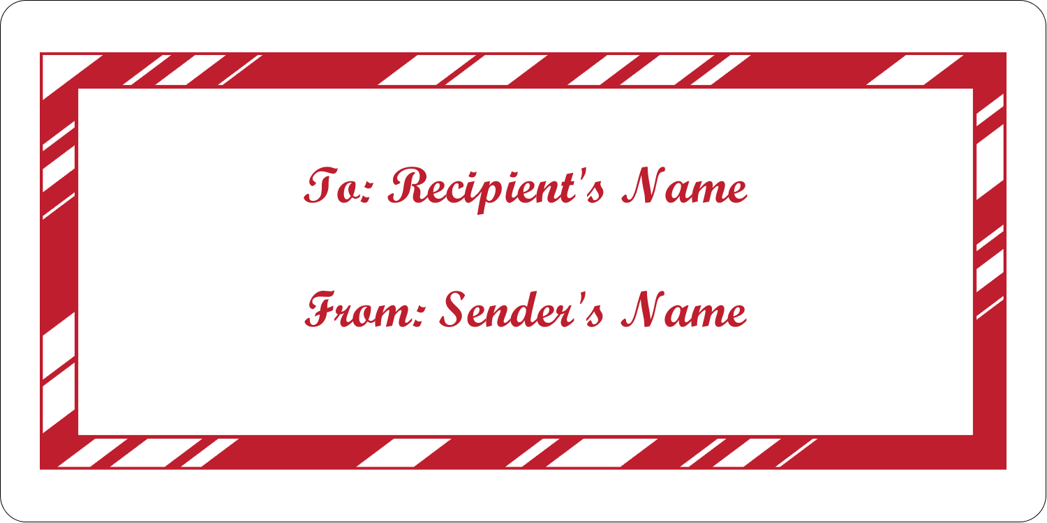"2"" x 4"" Shipping Label - Candy Cane Pattern"