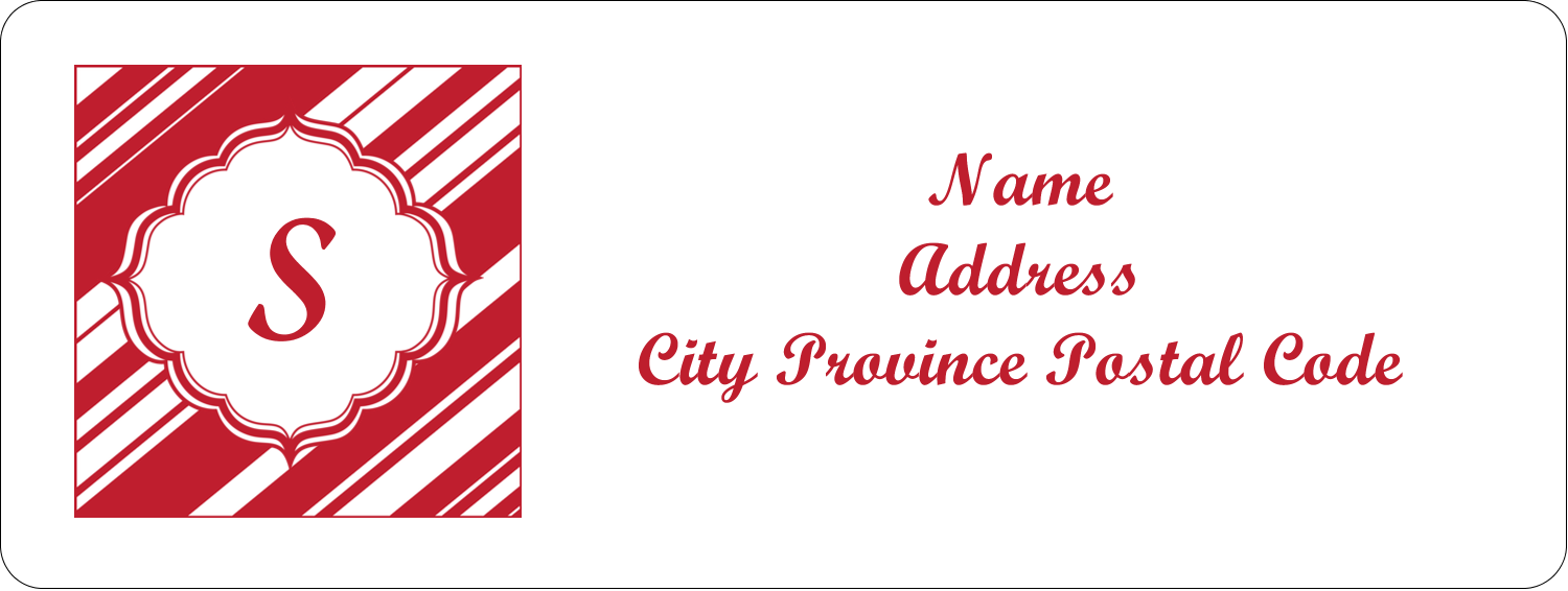 "⅔"" x 1¾"" Address Label - Candy Cane Pattern"