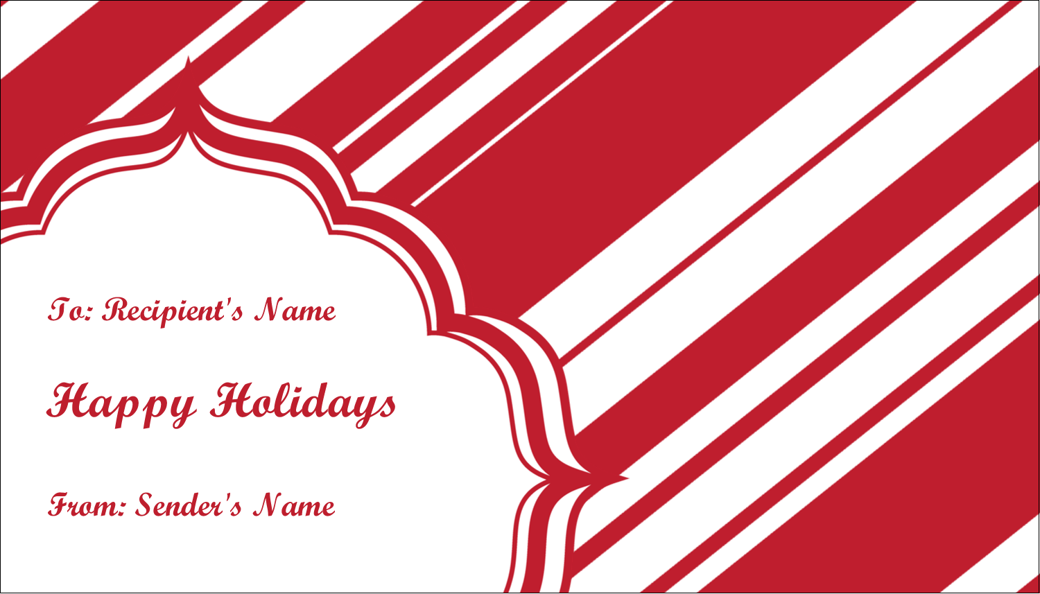 "2"" x 3½"" Business Card - Candy Cane Pattern"
