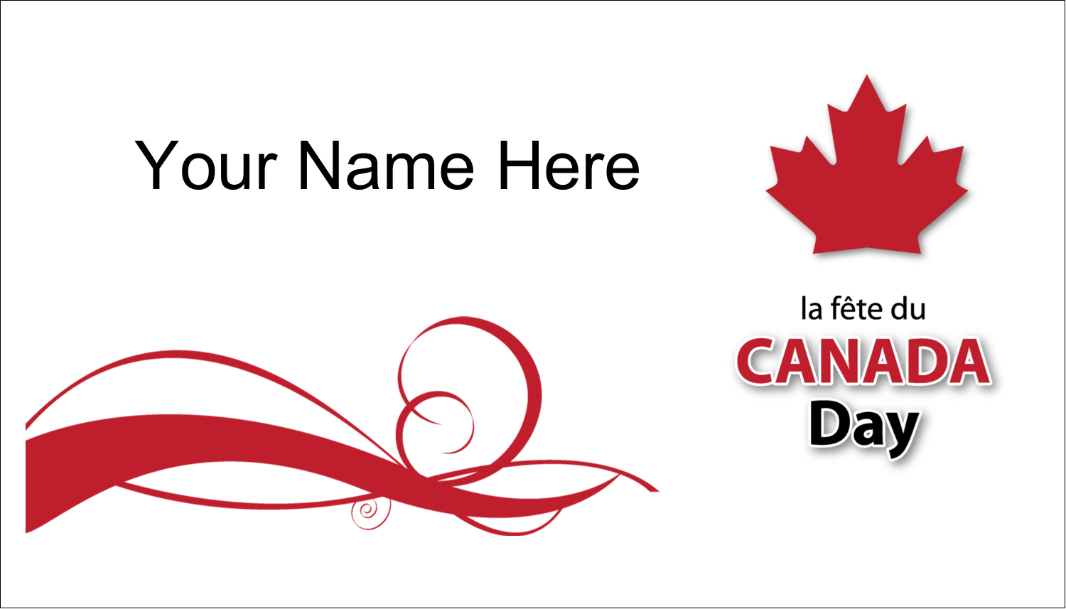 """2"""" x 3½"""" Business Card - Canada Day"""