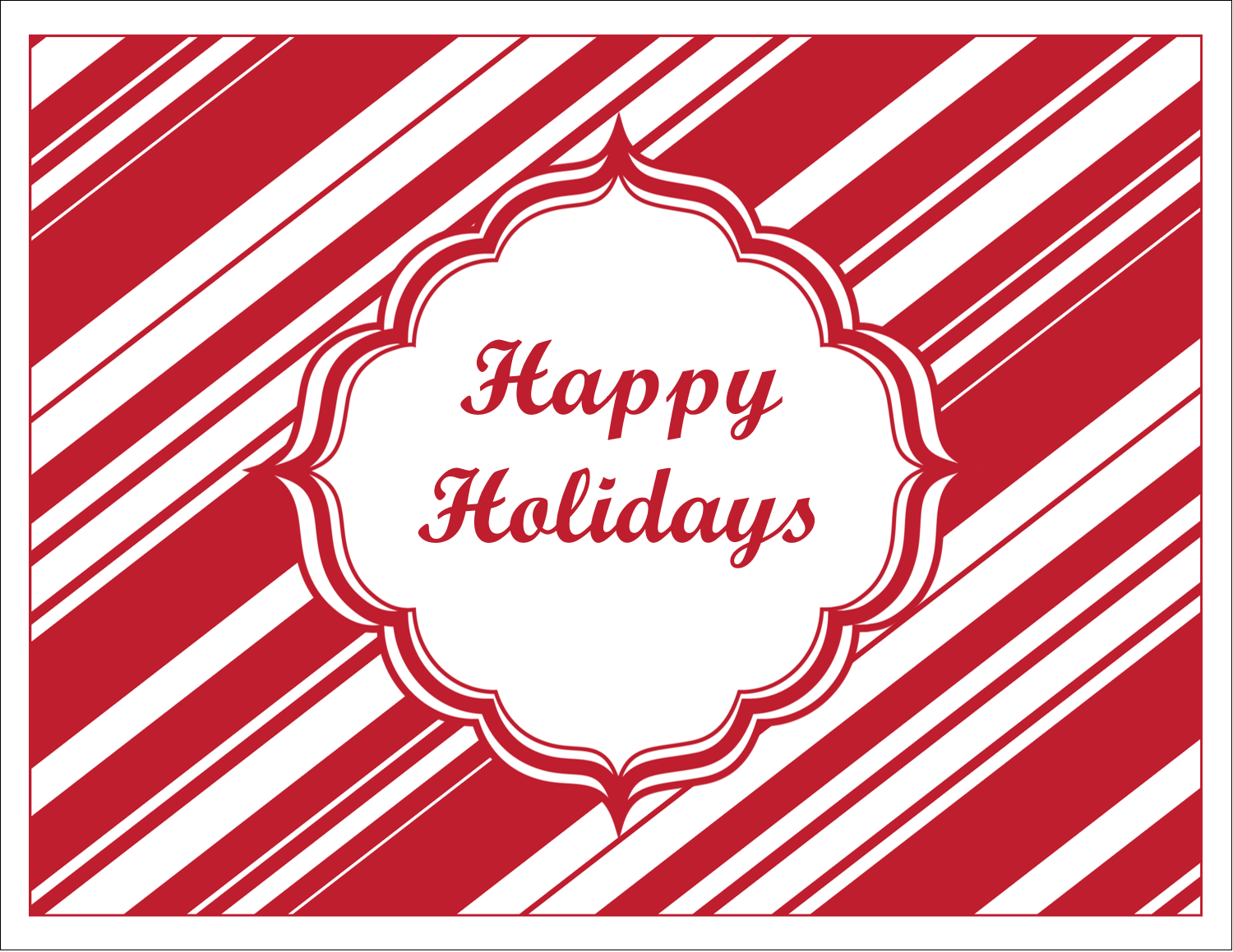 """5½"""" x 4¼"""" Note Card - Candy Cane Pattern"""