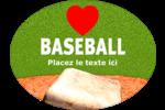 Amour du baseball Étiquettes ovales festonnées - gabarit prédéfini. <br/>Utilisez notre logiciel Avery Design & Print Online pour personnaliser facilement la conception.