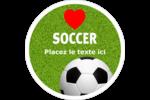 Amour du soccer Étiquettes arrondies - gabarit prédéfini. <br/>Utilisez notre logiciel Avery Design & Print Online pour personnaliser facilement la conception.