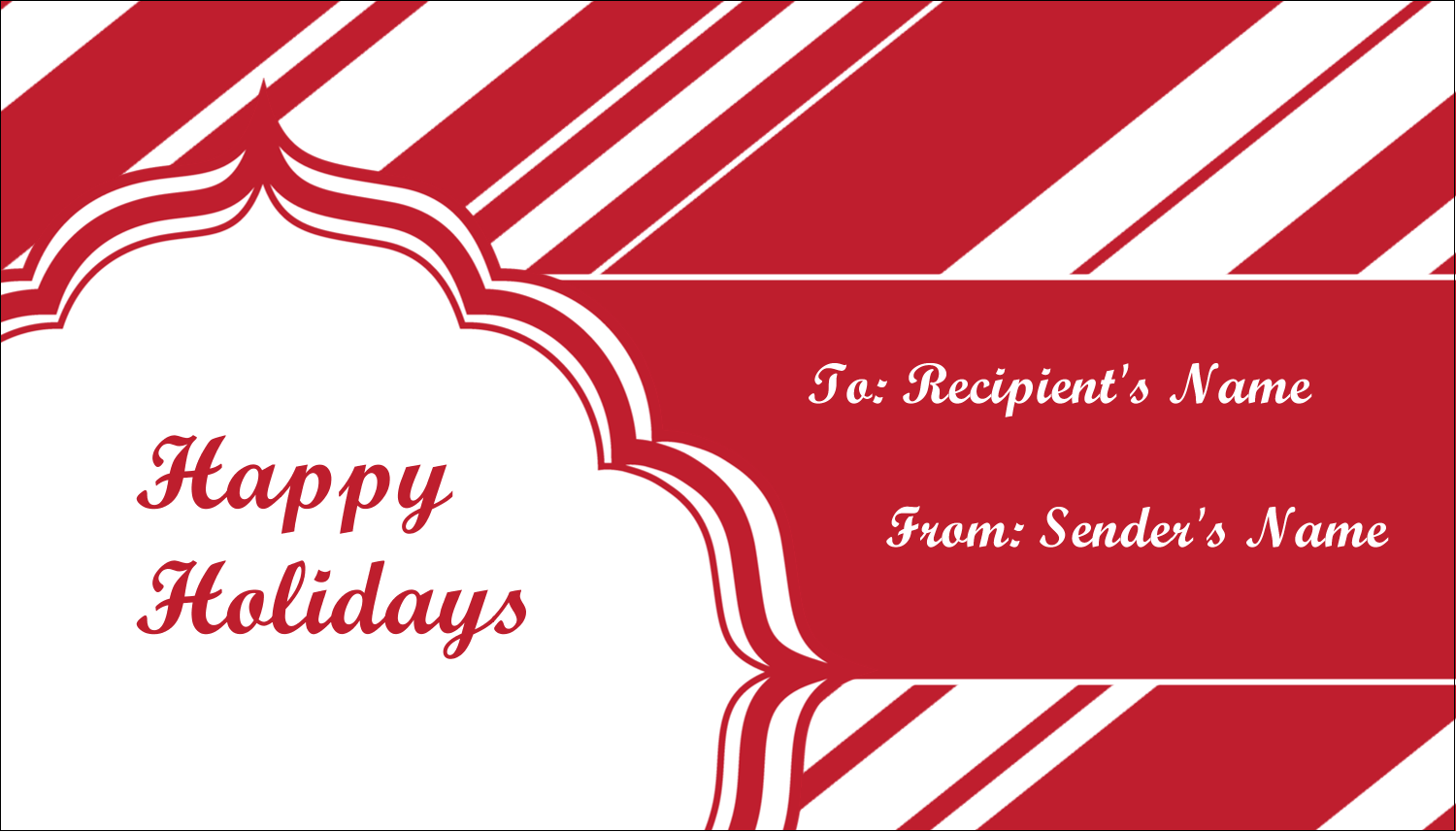 """2"""" x 3½"""" Business Card - Candy Cane Pattern"""
