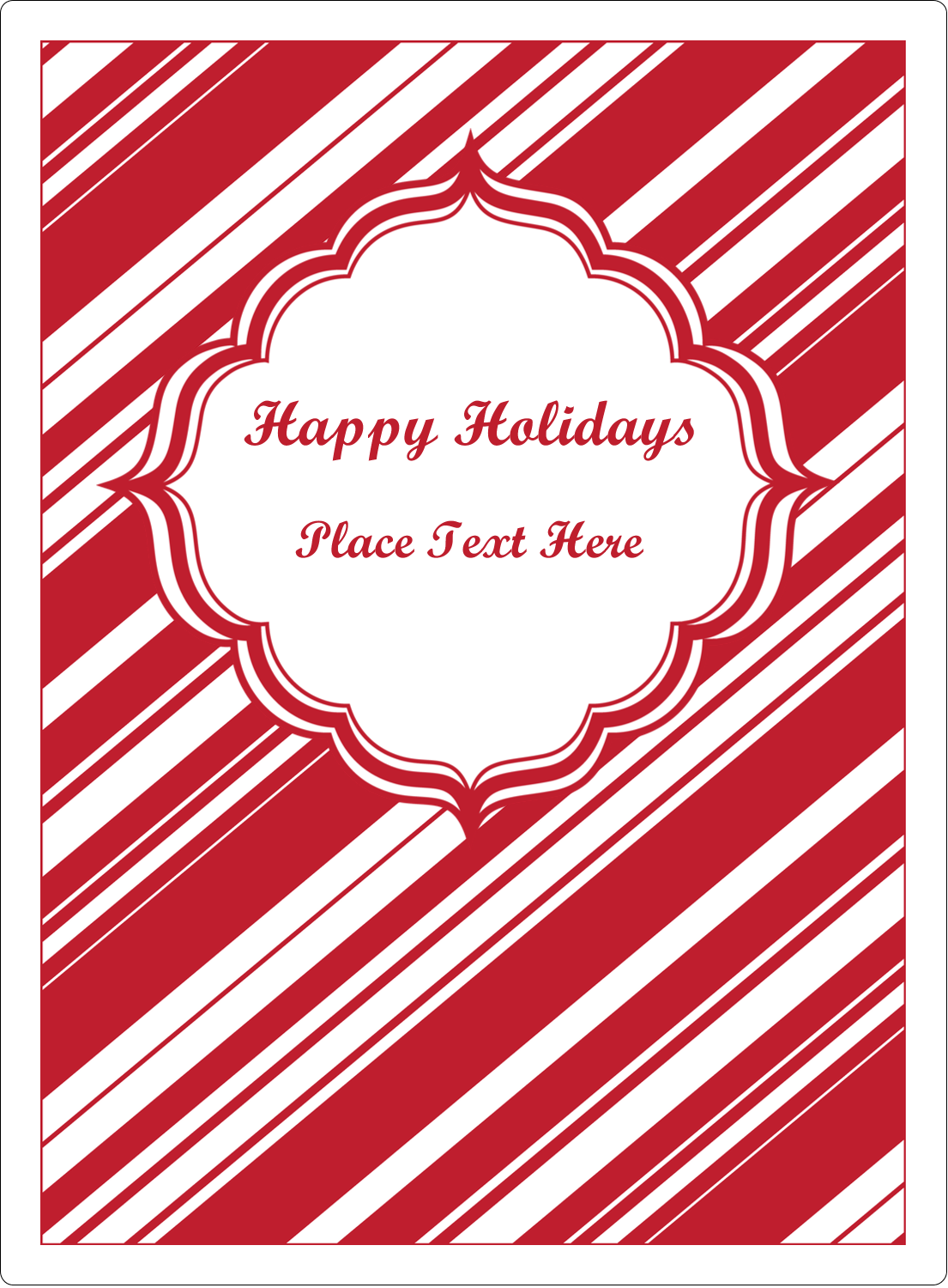 "4¾"" x 3½"" Rectangular Label - Candy Cane Pattern"