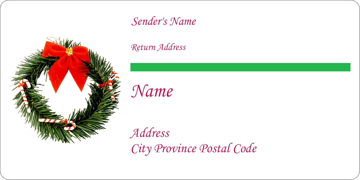 "2"" x 4"" Shipping Label - Christmas Garland"
