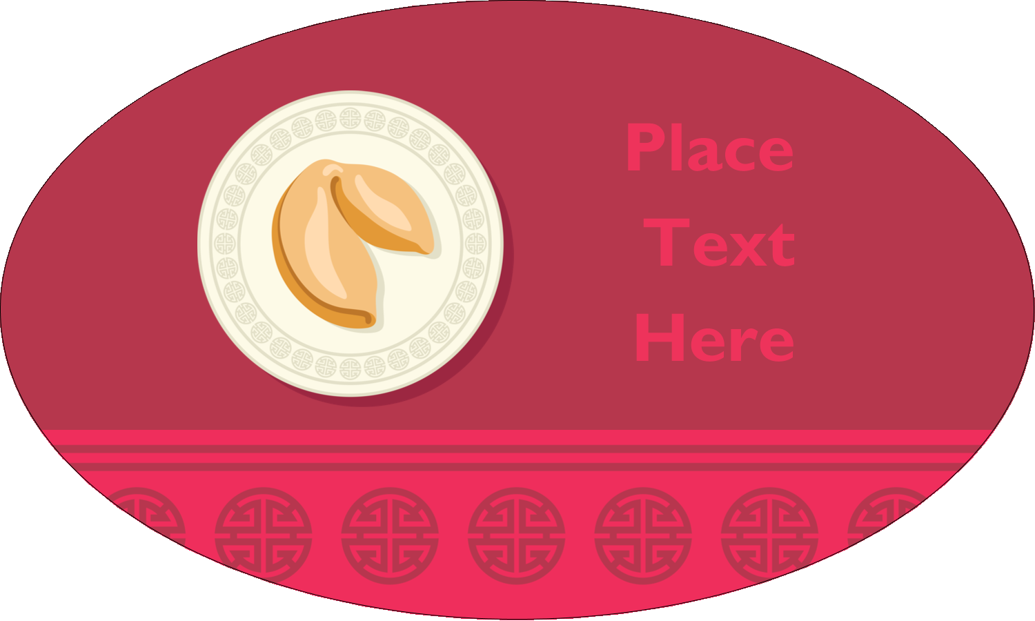 "1½"" x 2½"" Oval Glossy Label - Chinese New Year with Fortune"