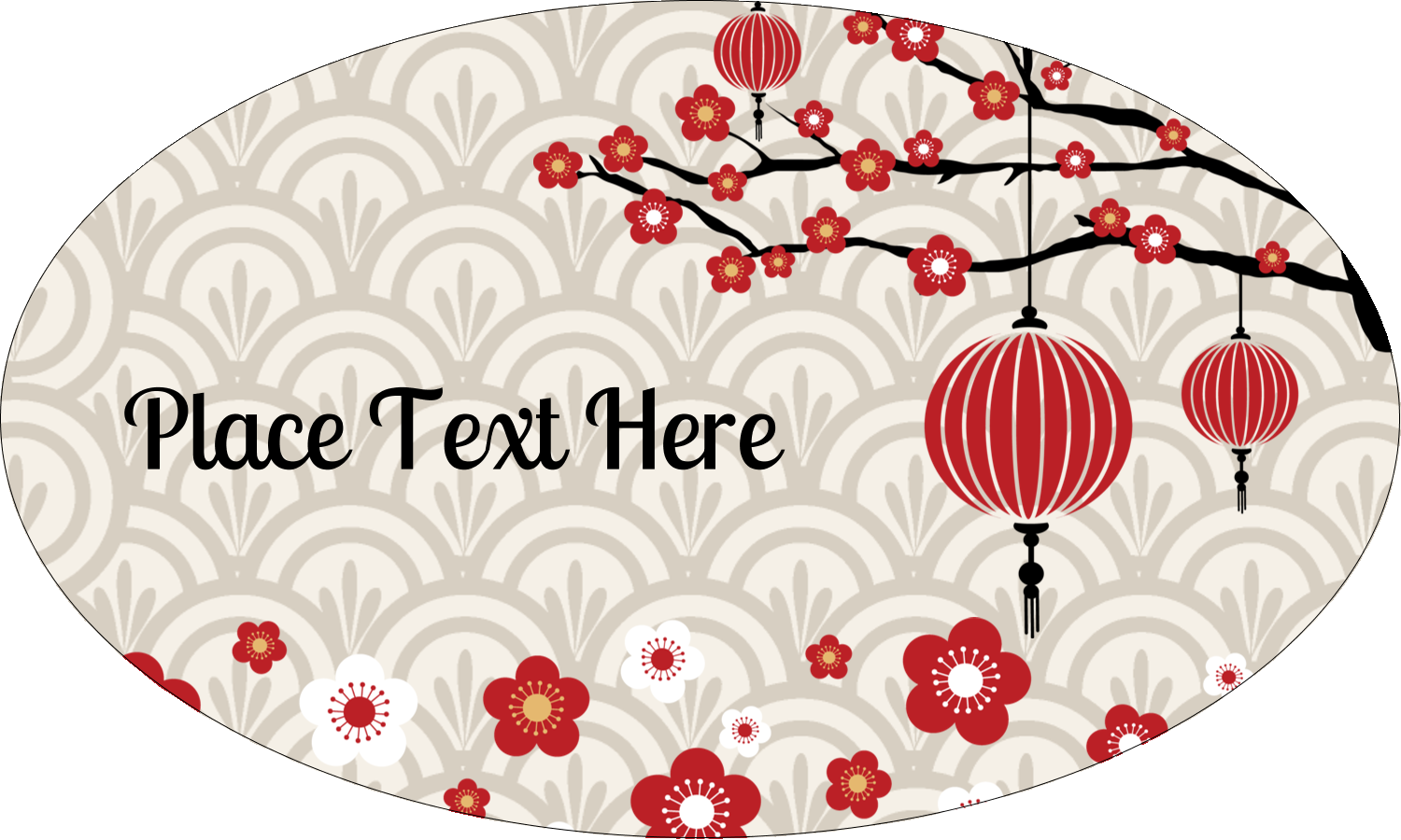 """1½"""" x 2½"""" Oval Glossy Label - Chinese New Year"""