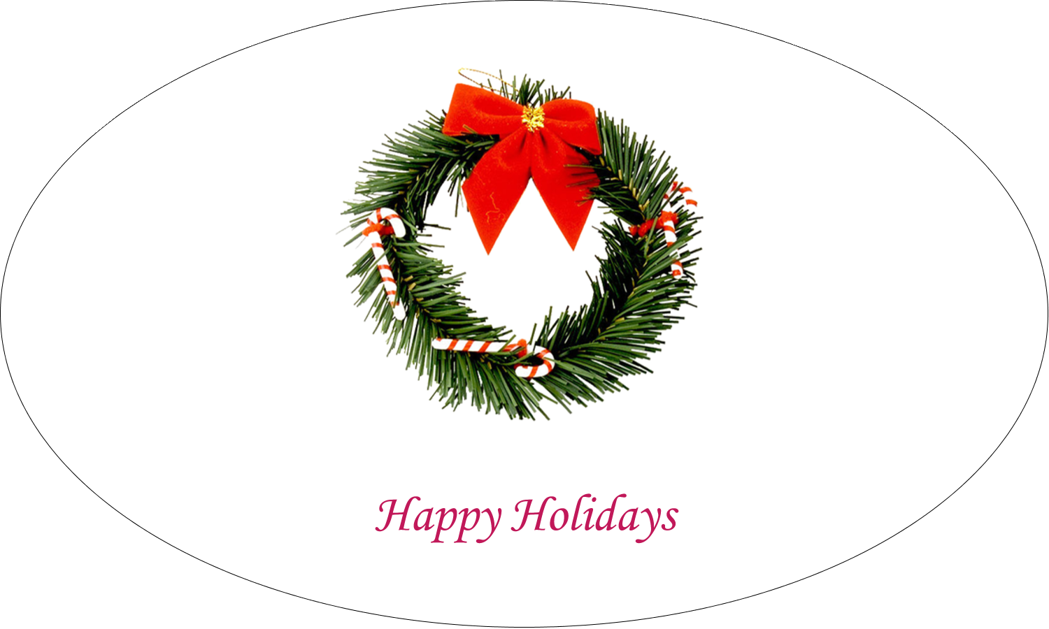 """1½"""" x 2½"""" Oval Glossy Label - Christmas Garland"""