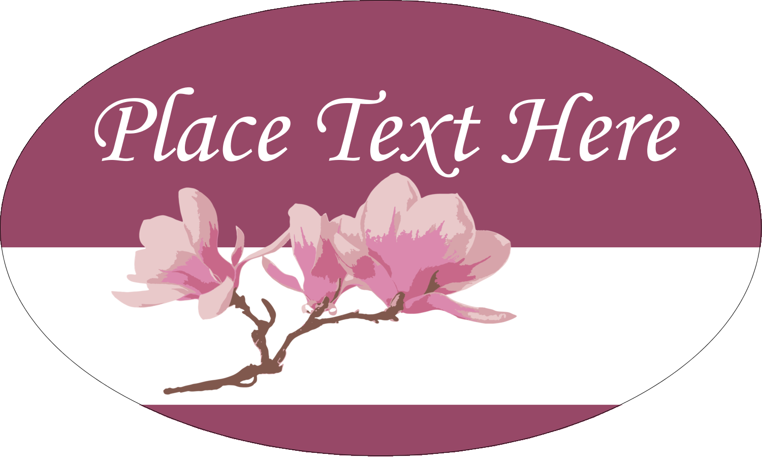 """1½"""" x 2½"""" Oval Glossy Label - Spring Magnolia"""