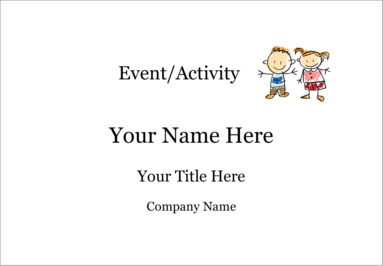 "2-11/12"" x 3⅜"" Name Badge Label - Child Education"