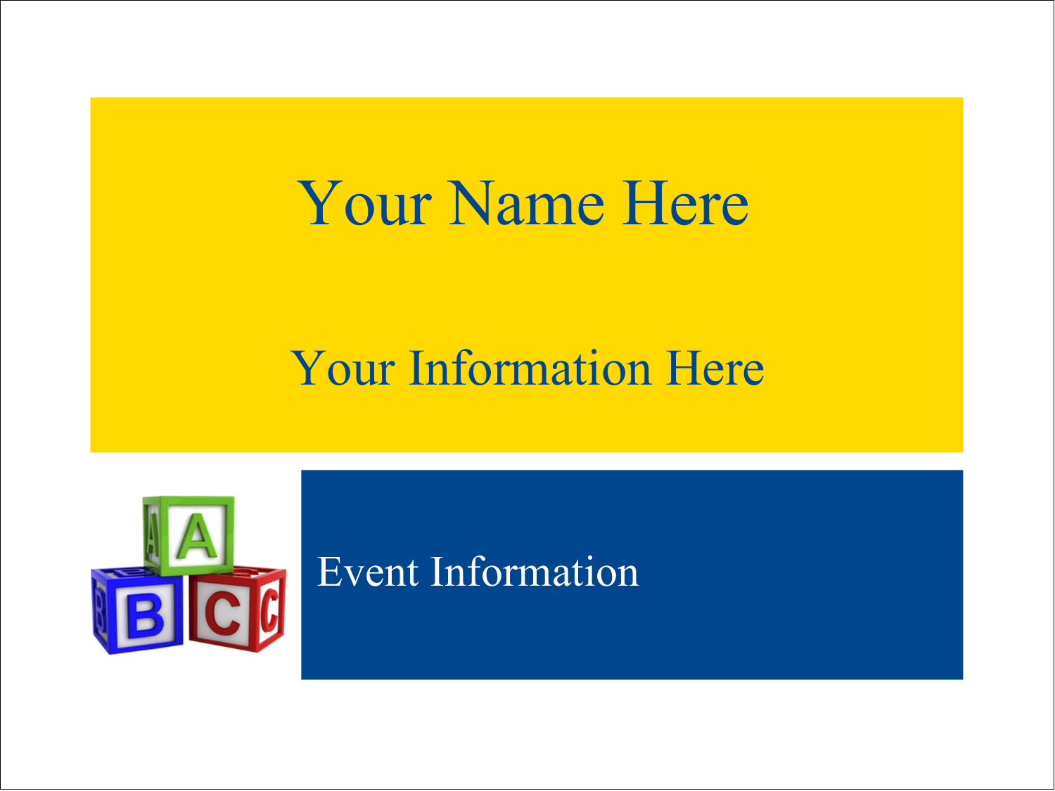 "3"" x 4"" Name Tags - Child Education Blocks"