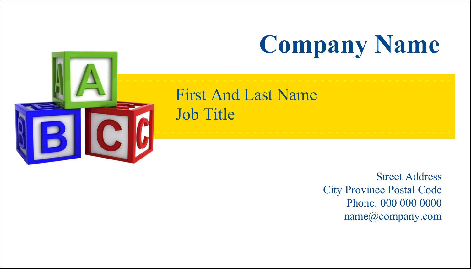 "2"" x 3½"" Business Card - Child Education Blocks"