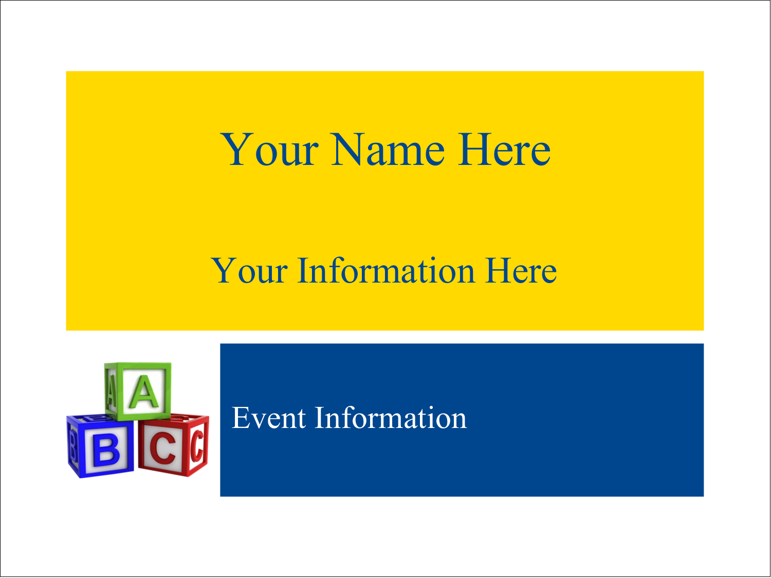 "4"" x 3"" Name Tags - Child Education Blocks"