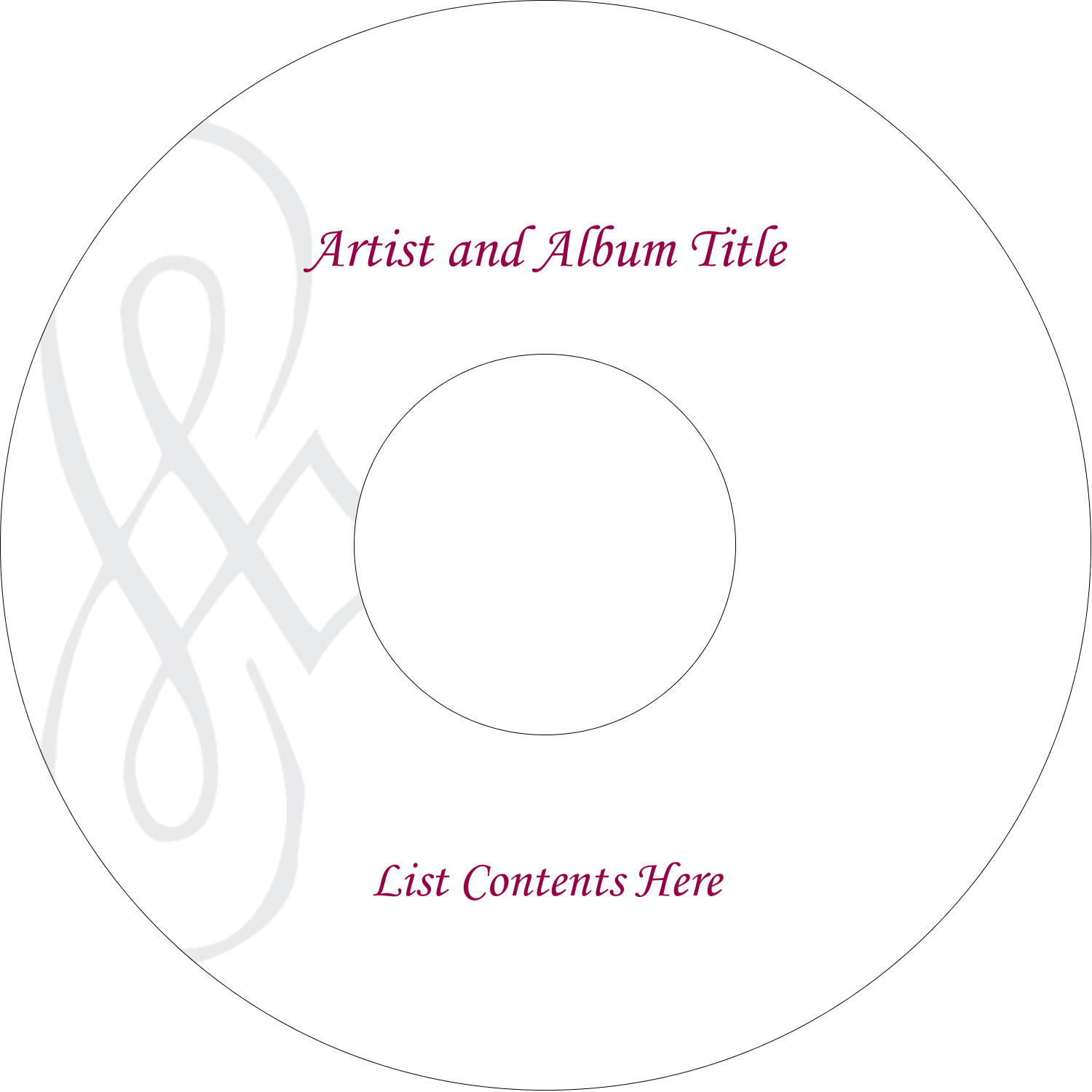 "4.65"" CD-DVD Label - Diamond Scrollwork"