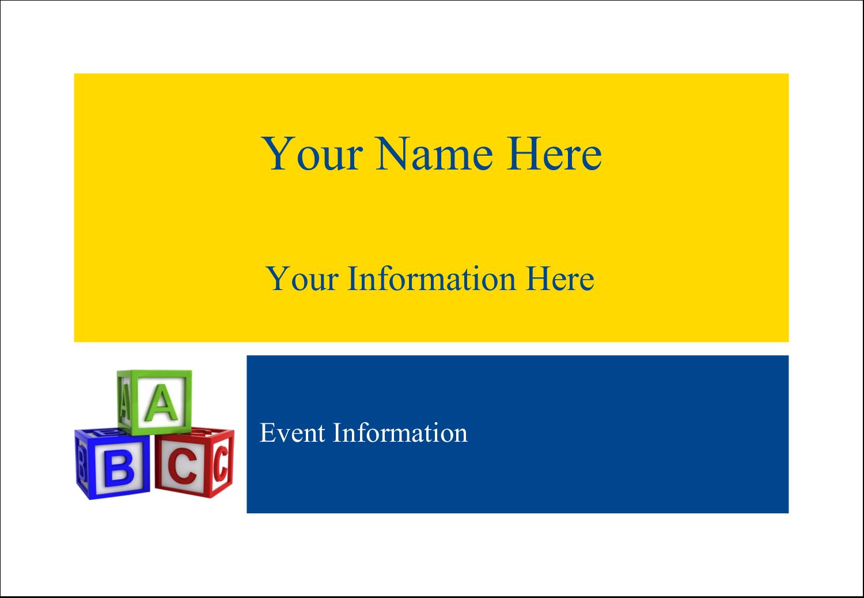 "3⅜"" x 2⅓"" Name Badge - Child Education Blocks"