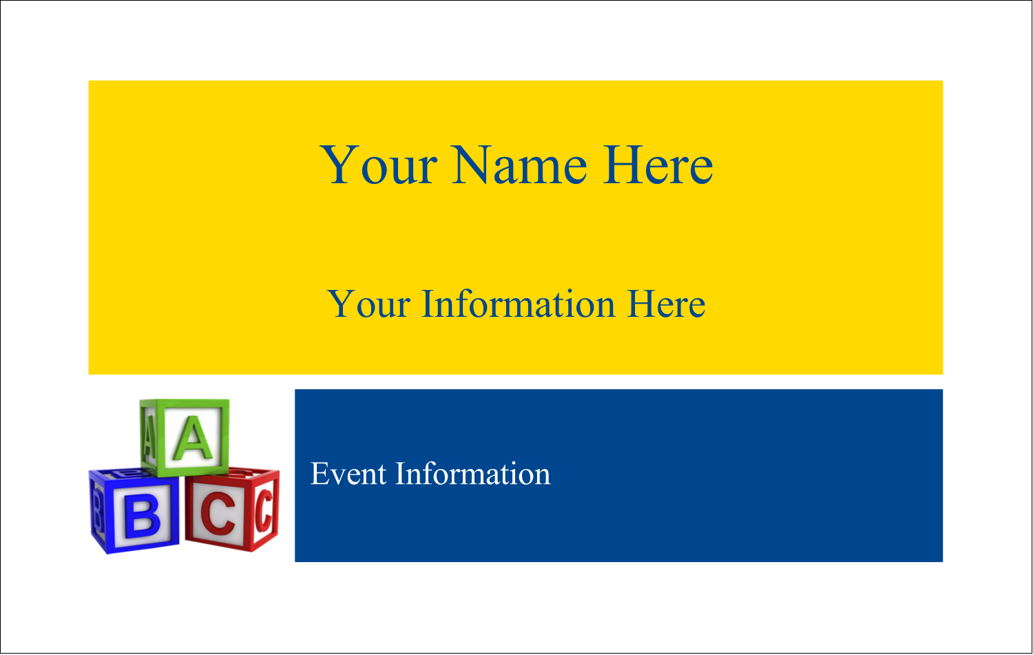 2¼ x 3½ Name Tags - Child Education Blocks