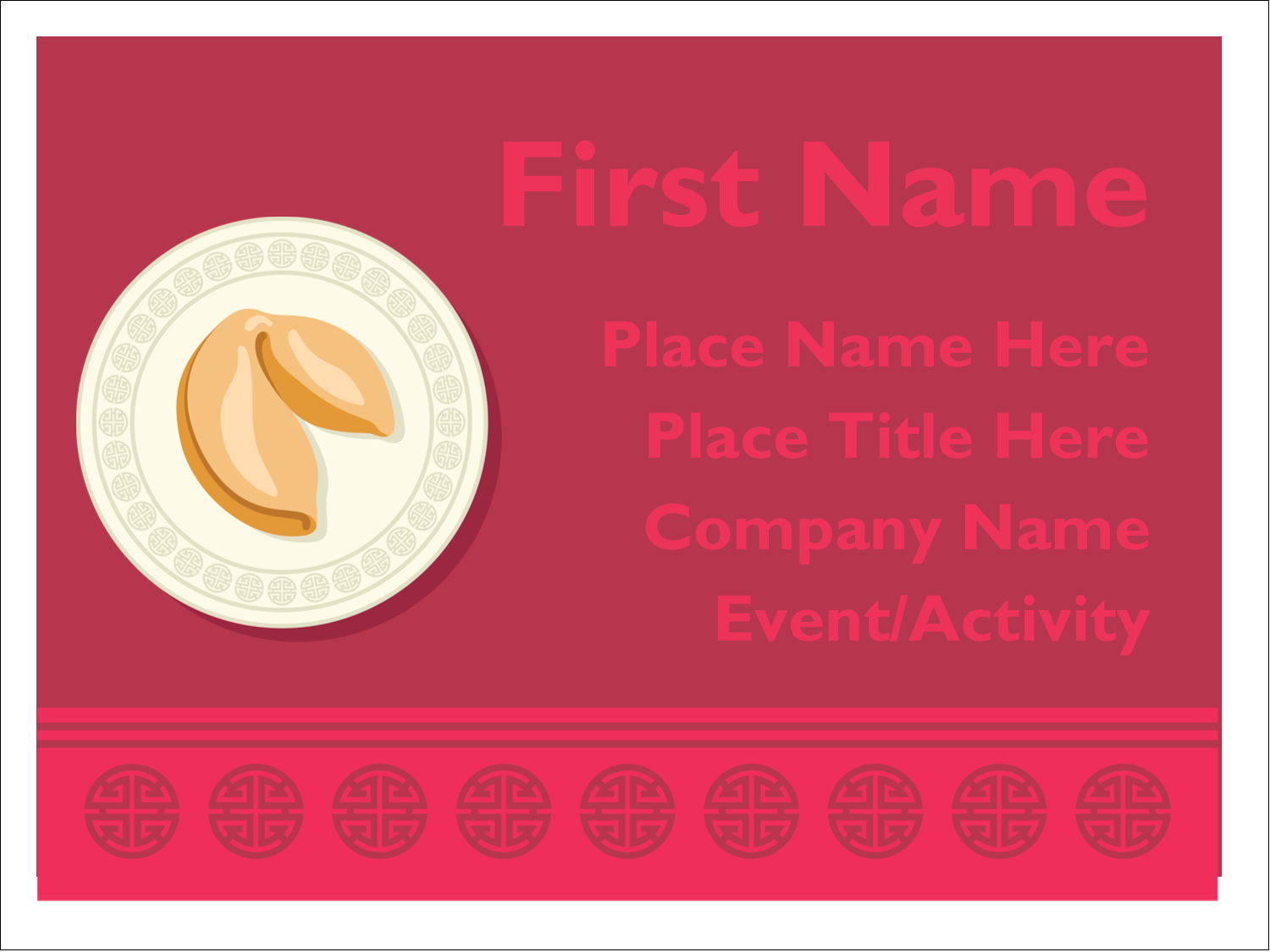 "3"" x 4"" Name Tags - Chinese New Year with Fortune"