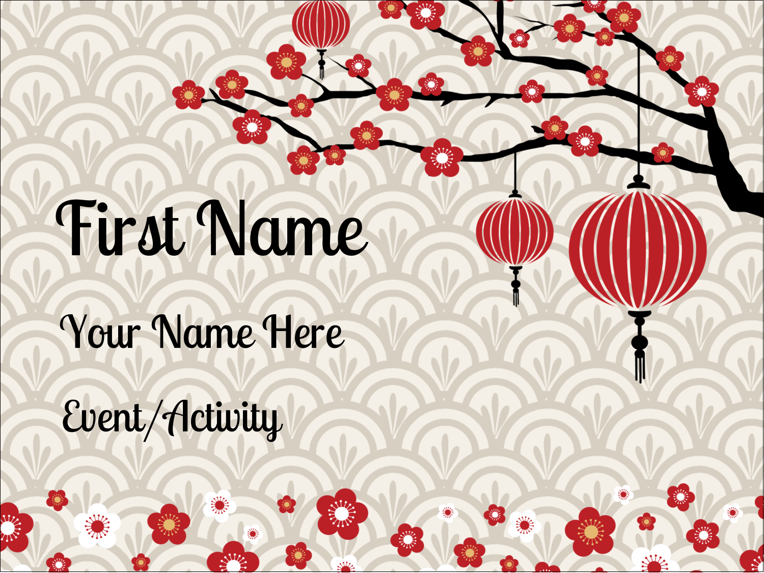 "3"" x 4"" Name Tags - Chinese New Year"
