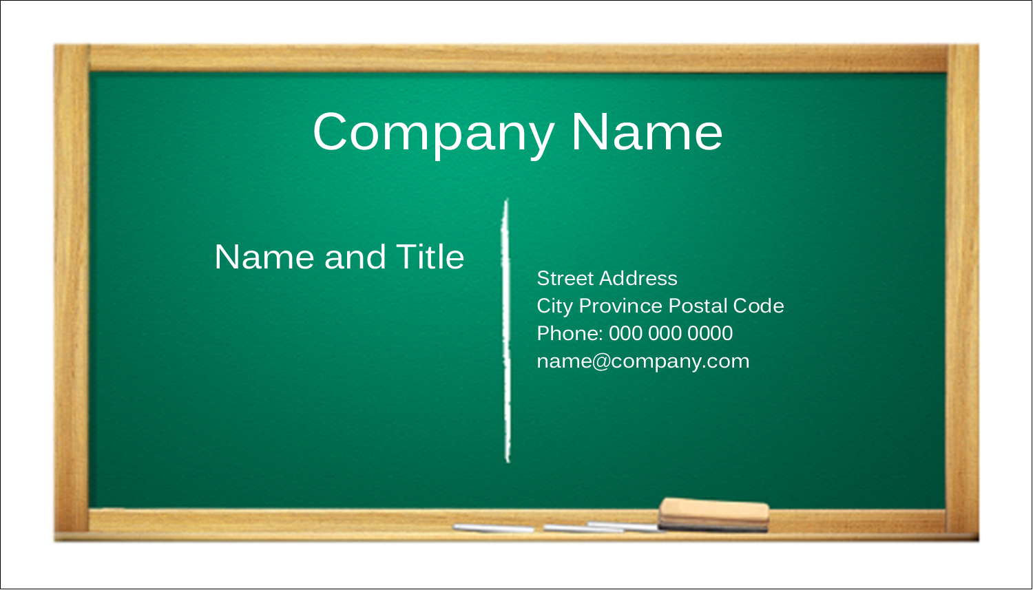 "2"" x 3½"" Business Card - Chalkboard Education"