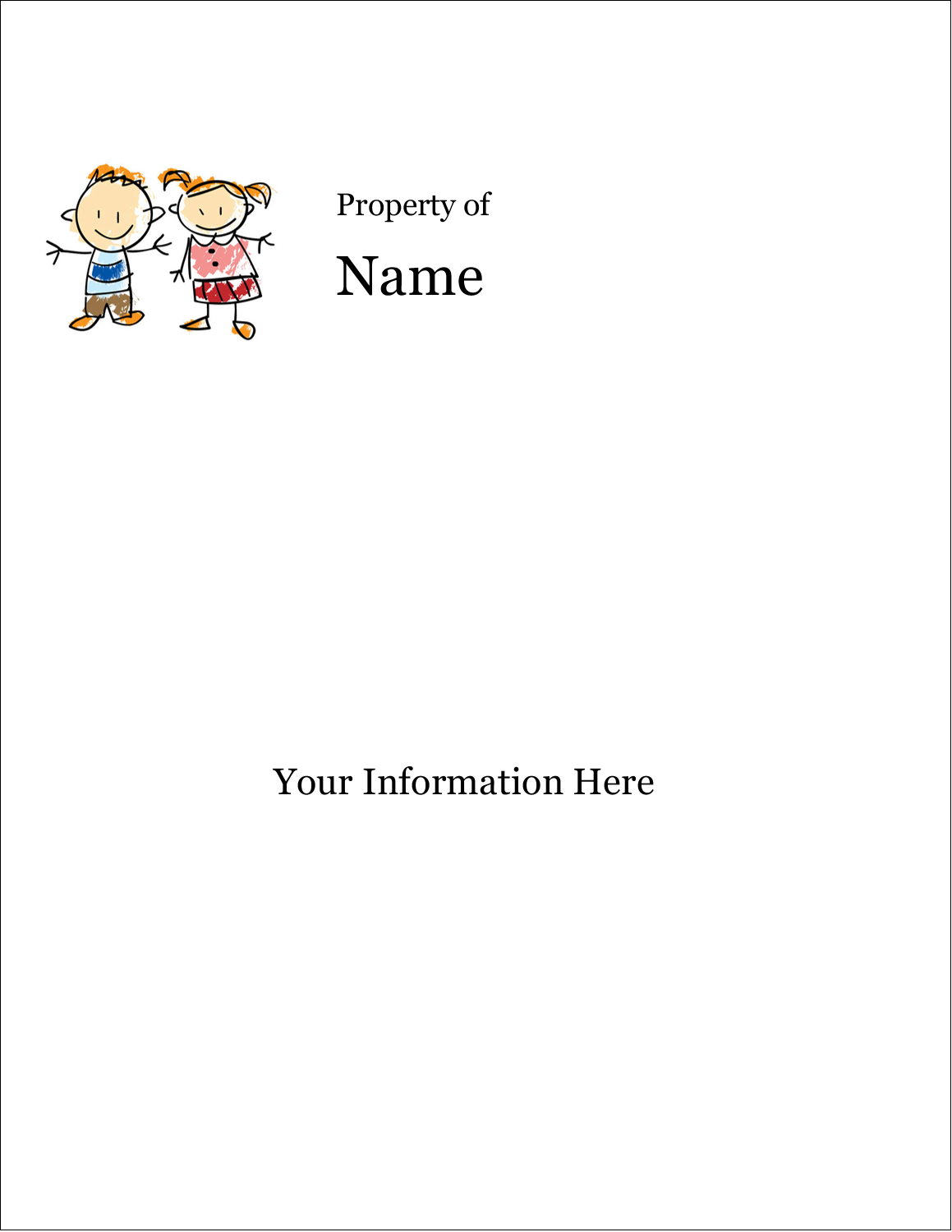 "8½"" x 11"" ID Label - Child Education"
