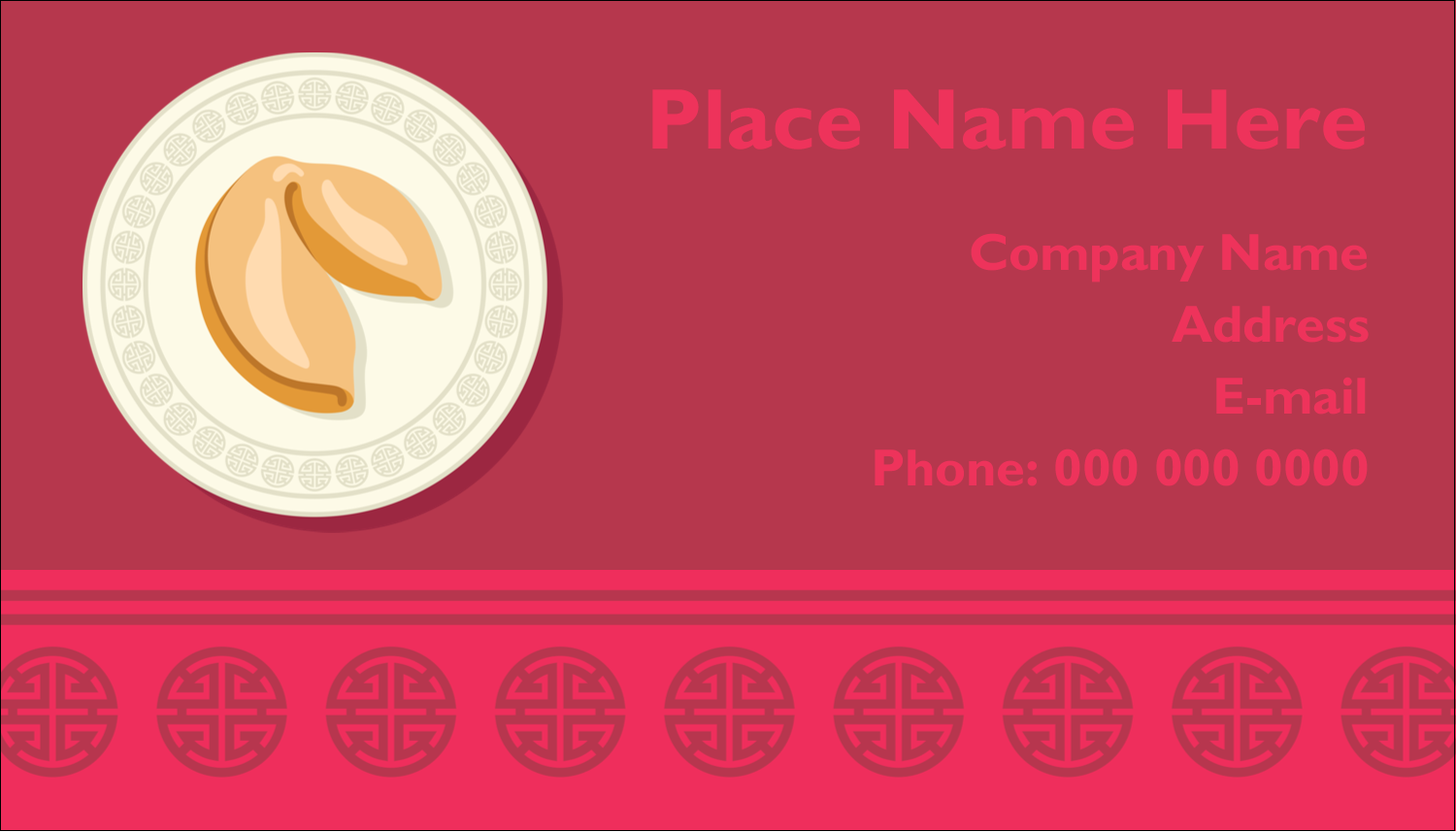 """2"""" x 3½"""" Business Card - Chinese New Year with Fortune"""