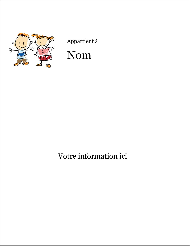 """8½"""" x 11"""" Étiquettes D'Identification - Éducation des enfants"""