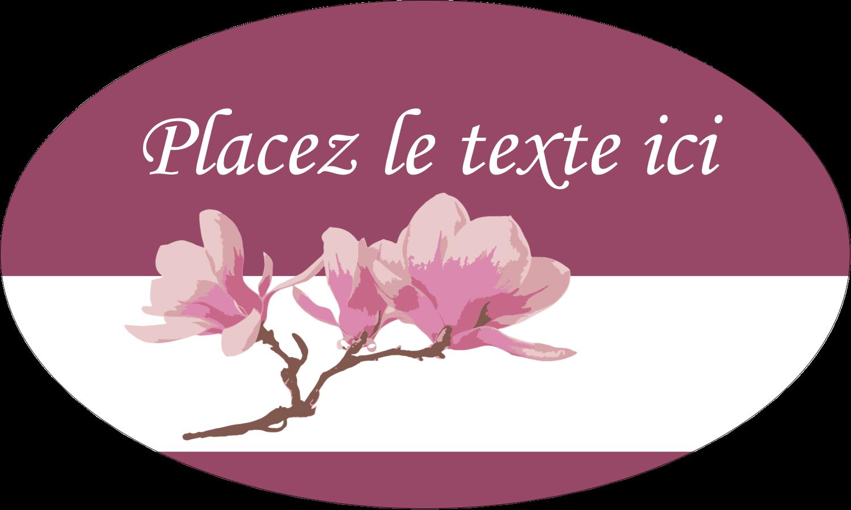 "1½"" x 2½"" Étiquettes ovales - Magnolia printanier"