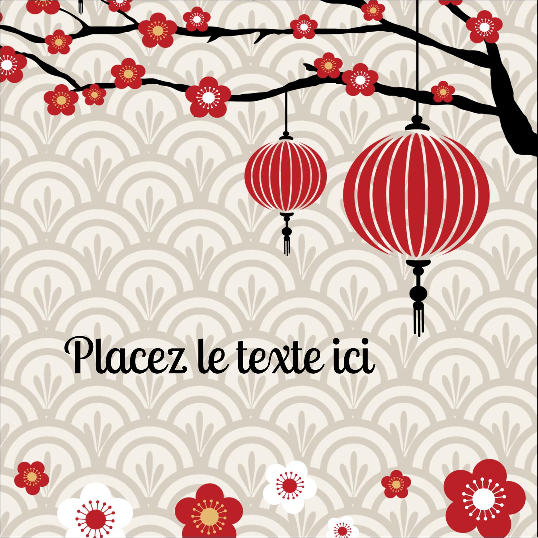 """1½"""" x 1½"""" Étiquettes carrées - Nouvel An chinois"""
