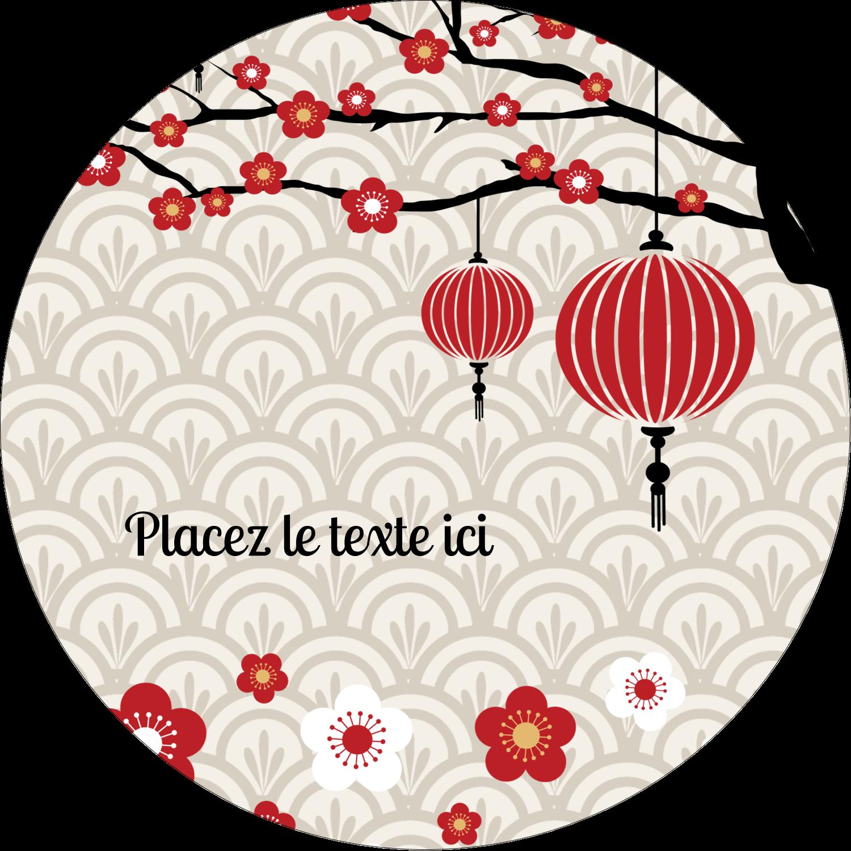 """2½"""" Diameter Étiquettes rondes - Nouvel An chinois"""