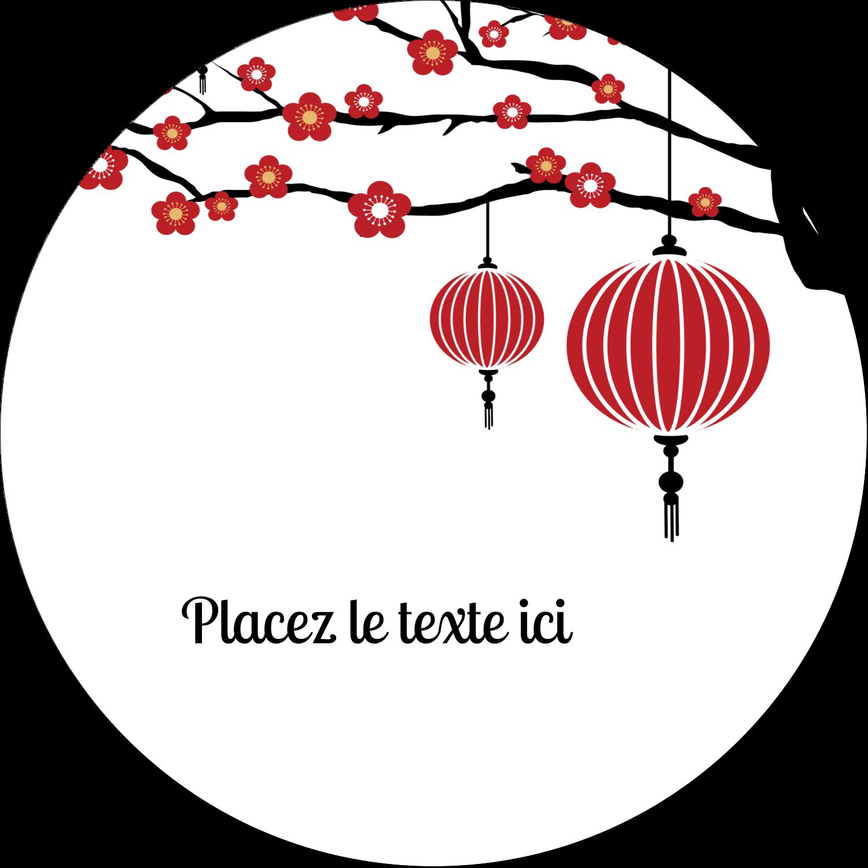 """3"""" x 2¼"""" Étiquettes arrondies - Nouvel An chinois"""