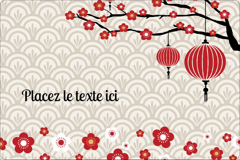 """3"""" x 3¾"""" Étiquettes rectangulaires - Nouvel An chinois"""