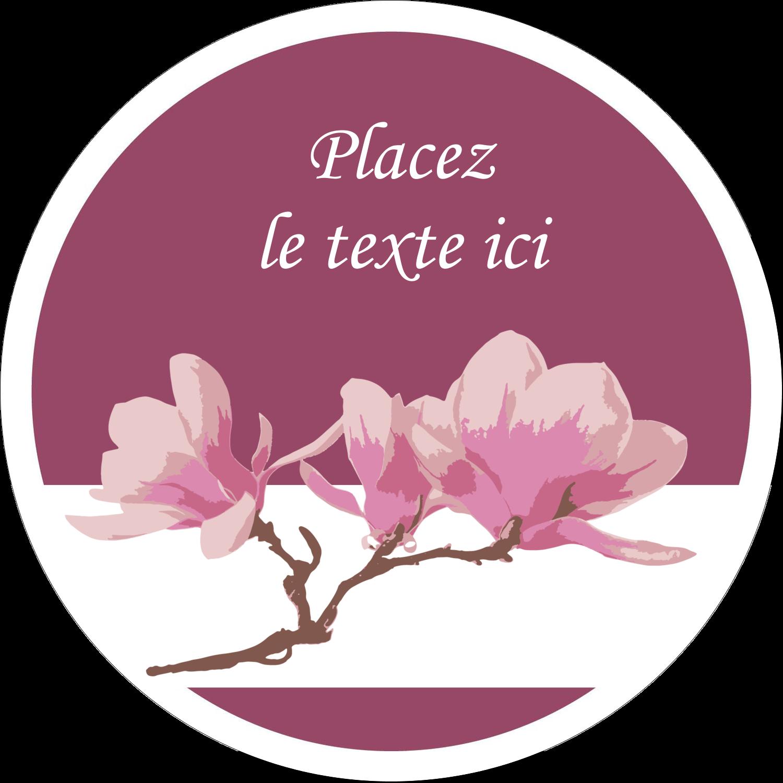 """2"""" Diameter Étiquettes rondes gaufrées - Magnolia printanier"""