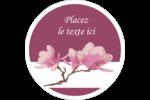 Magnolia printanier Étiquettes rondes gaufrées - gabarit prédéfini. <br/>Utilisez notre logiciel Avery Design & Print Online pour personnaliser facilement la conception.