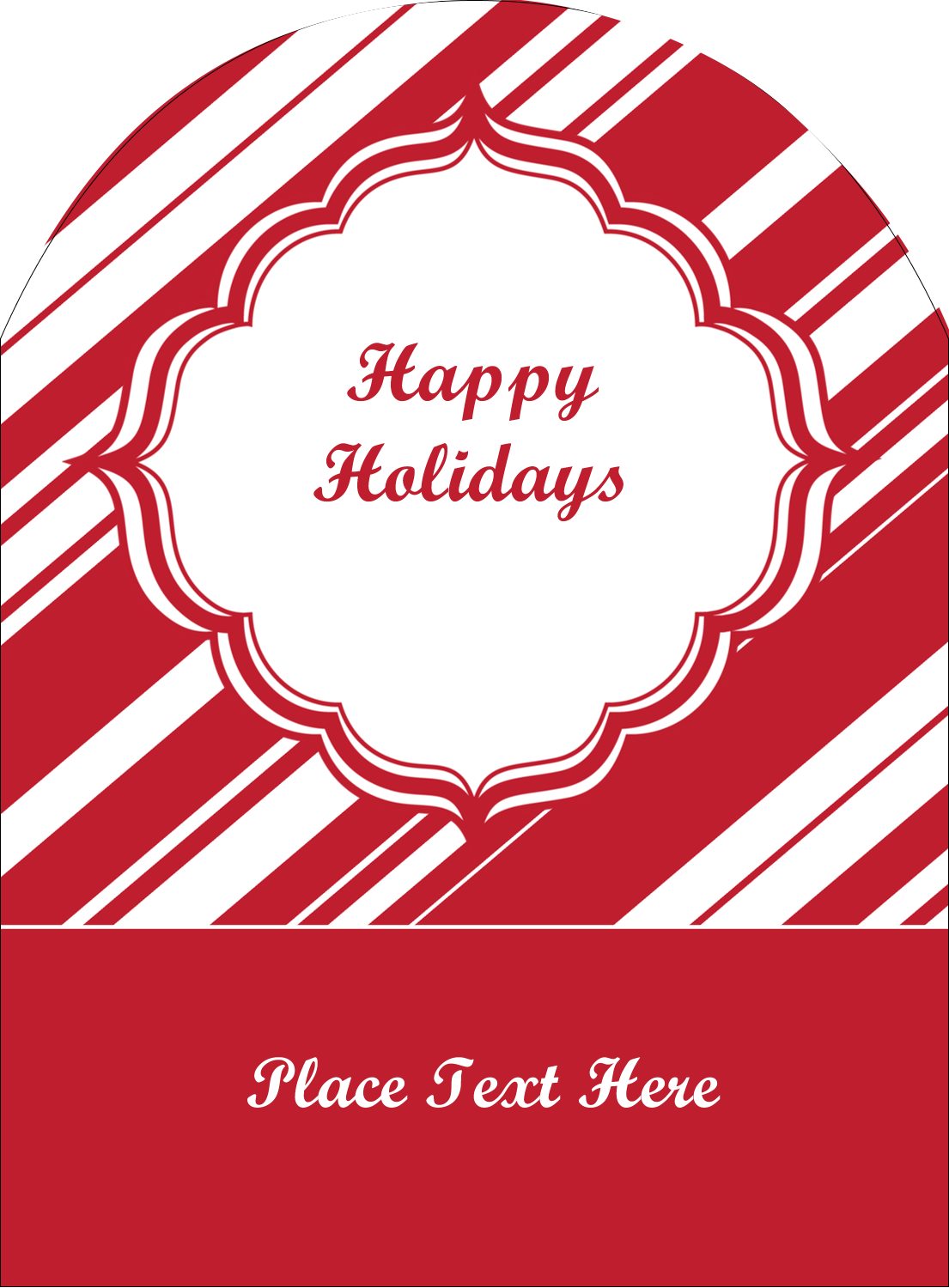 "4¾"" x 3½"" Arched Label - Candy Cane Pattern"