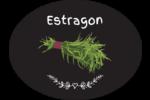 Estragon, épices et fines herbes sur tableau noir Étiquettes ovales festonnées - gabarit prédéfini. <br/>Utilisez notre logiciel Avery Design & Print Online pour personnaliser facilement la conception.
