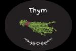 Thym, épices et fines herbes sur tableau noir Étiquettes ovales festonnées - gabarit prédéfini. <br/>Utilisez notre logiciel Avery Design & Print Online pour personnaliser facilement la conception.