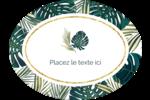 Verdure tropicale Étiquettes ovales festonnées - gabarit prédéfini. <br/>Utilisez notre logiciel Avery Design & Print Online pour personnaliser facilement la conception.