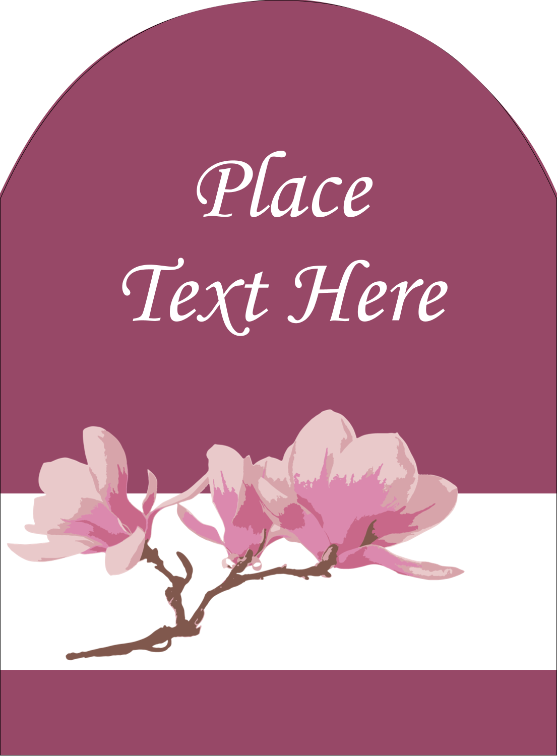 "4¾"" x 3½"" Arched Label - Spring Magnolia"