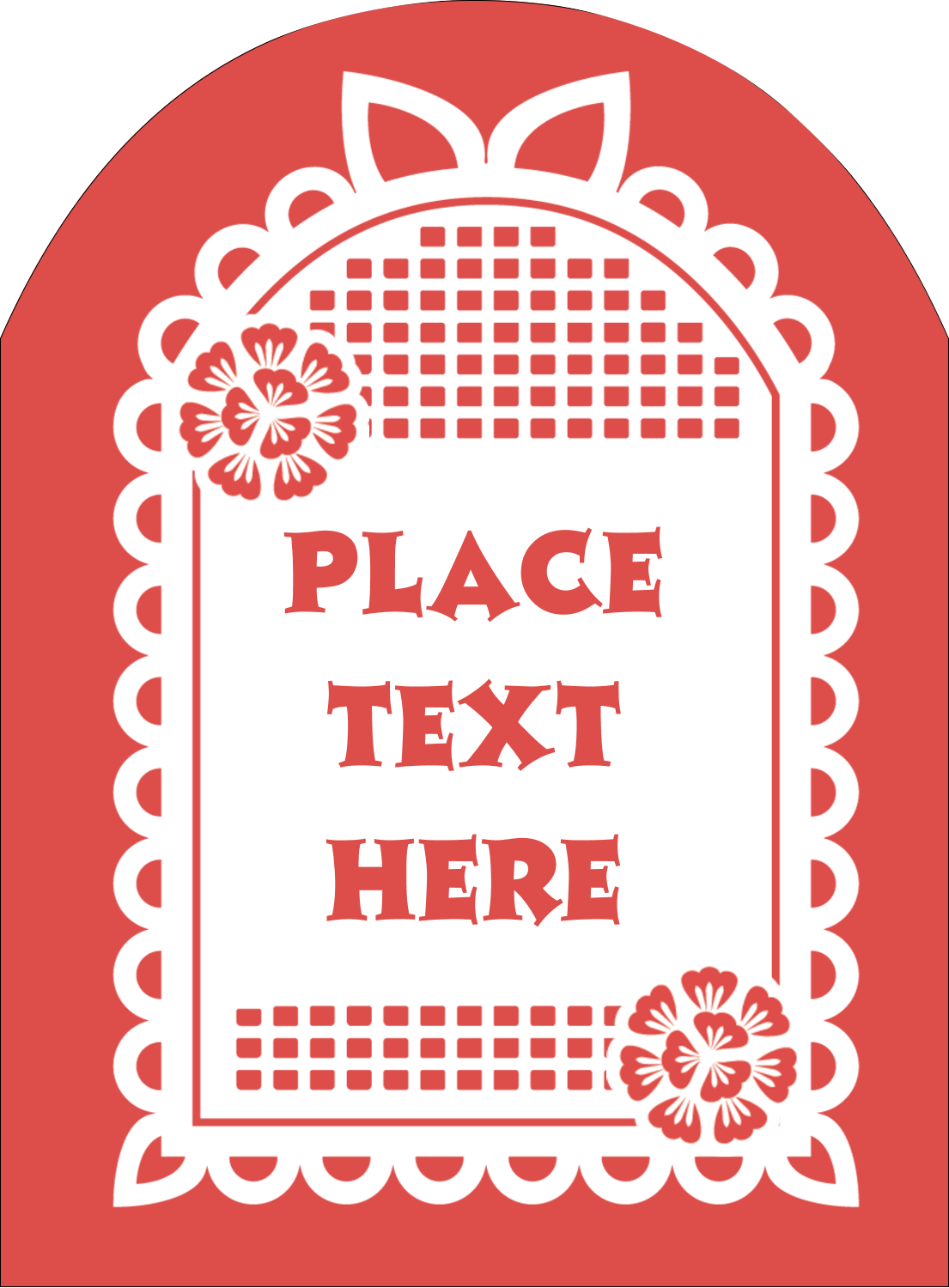 "4¾"" x 3½"" Arched Label - Cinco de Mayo Papel Picado"
