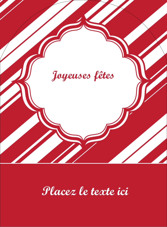 """4¾"""" x 3½"""" Étiquettes rectangulaires - Motif de canne de bonbon"""