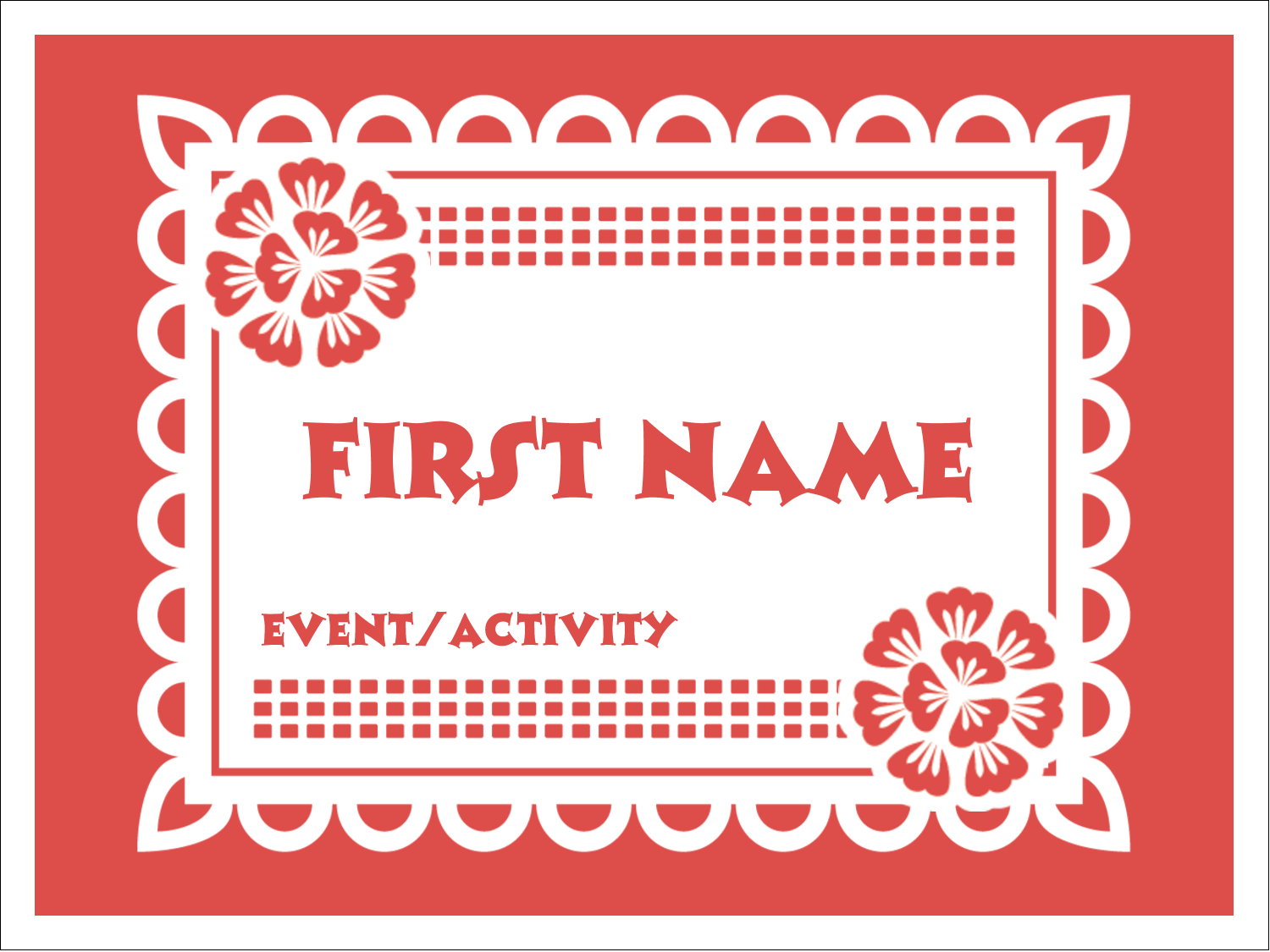 "3"" x 4"" Name Tags - Cinco de Mayo Papel Picado"
