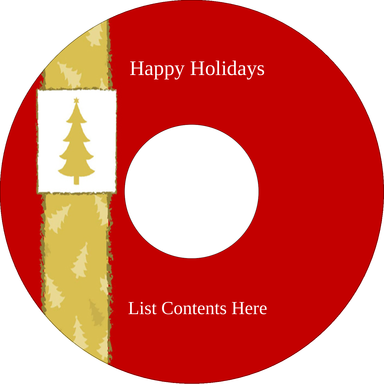 "4.65"" CD-DVD Label - Christmas Red Tree"