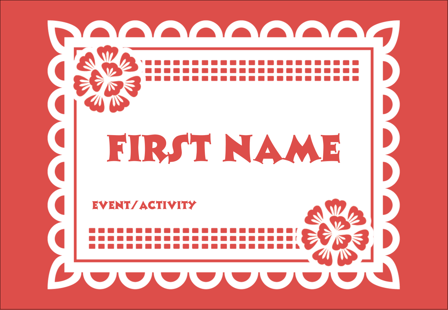 "3⅜"" x 2⅓"" Name Badge - Cinco de Mayo Papel Picado"