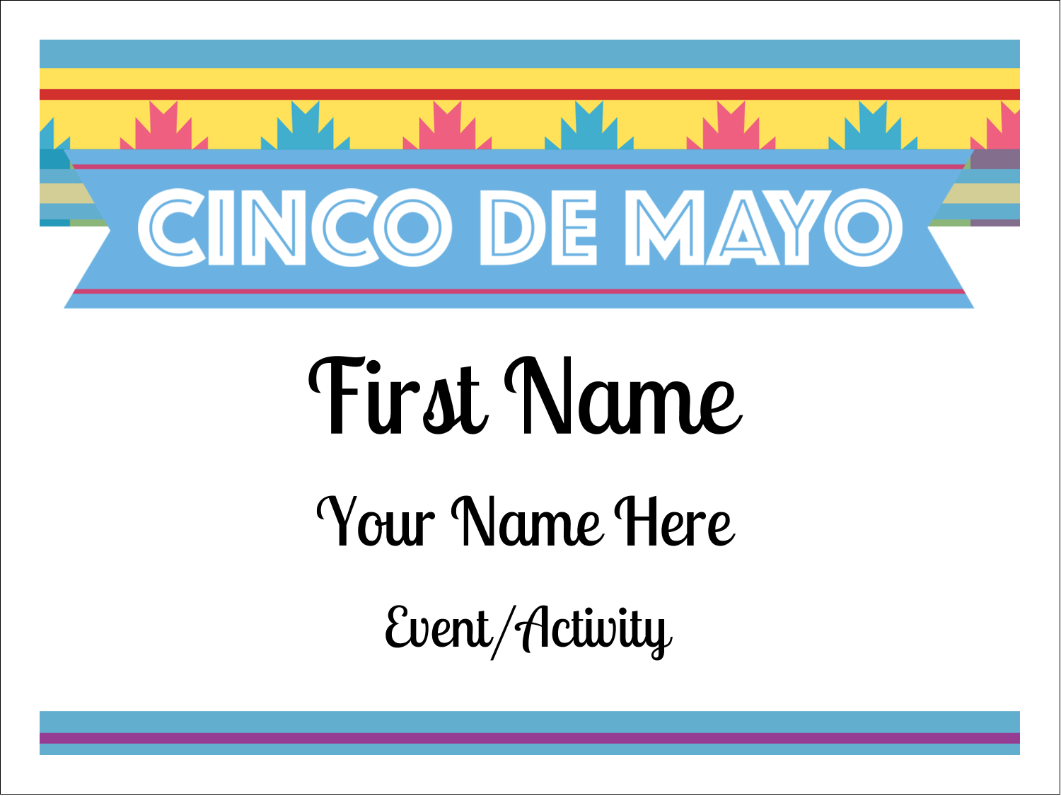 "3"" x 4"" Name Tags - Cinco de Mayo Serape"