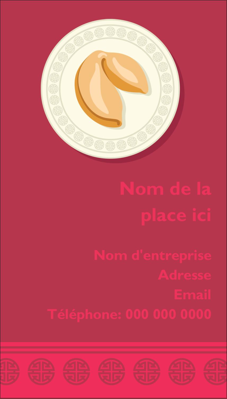 """2"""" x 3½"""" Carte d'affaire - Nouvel An chinois avec biscuit"""