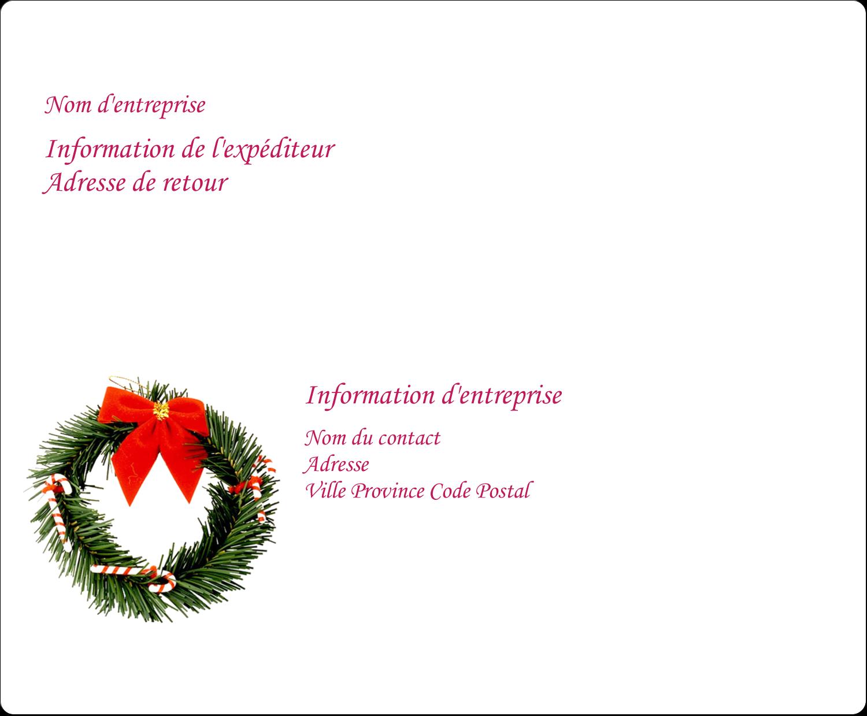 """3⅓"""" x 4"""" Étiquettes d'expédition - Couronne de Noël"""