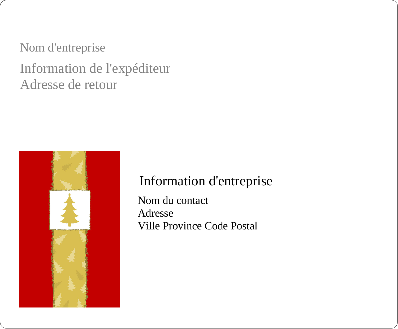 """3⅓"""" x 4"""" Étiquettes d'expédition - Arbre de Noël sur fond rouge"""